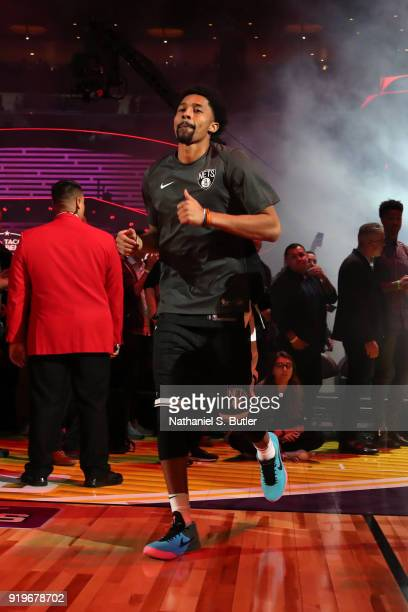 Spencer Dinwiddie of the Brooklyn Nets is introduced before the Taco Bell Skills Challenge during State Farm AllStar Saturday Night as part of the...