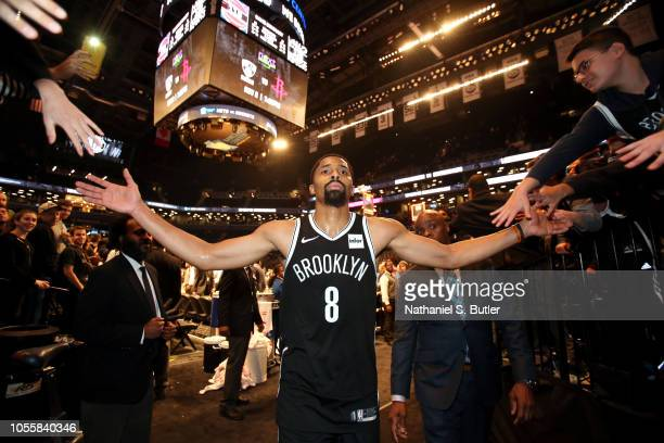 Spencer Dinwiddie of the Brooklyn Nets leaves the court after the game against the Detroit Pistons on October 31 2018 at Barclays Center in Brooklyn...