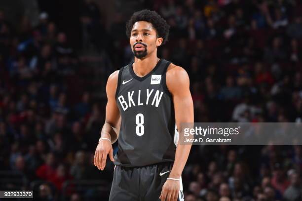Spencer Dinwiddie of the Brooklyn Nets looks on against the Philadelphia 76ers at the Wells Fargo Center on March 16 2018 in Philadelphia...