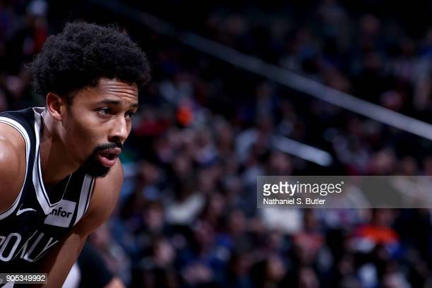 Spencer Dinwiddie of the Brooklyn Nets looks on against the New York Knicks on January 15 2018 at Barclays Center in Brooklyn New York NOTE TO USER...