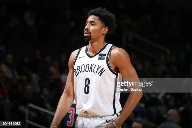 Spencer Dinwiddie of the Brooklyn Nets looks on during the game against the Washington Wizards on January 13 2018 at Capital One Arena in Washington...