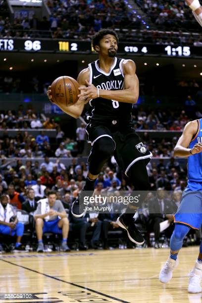 Spencer Dinwiddie of the Brooklyn Nets looks to pass the ball against the Oklahoma City Thunder as part of the NBA Mexico Games 2017 on December 7...