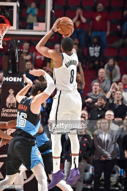 Spencer Dinwiddie of the Brooklyn Nets makes the game winning shot against the Cleveland Cavaliers on November 25 2019 at Rocket Mortgage FieldHouse...