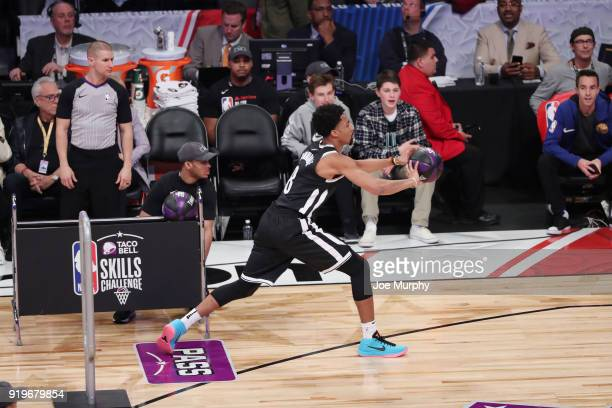Spencer Dinwiddie of the Brooklyn Nets passes the ball during the Taco Bell Skills Challenge during State Farm AllStar Saturday Night as part of the...