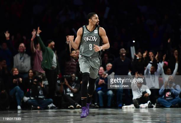 Spencer Dinwiddie of the Brooklyn Nets reacts after a basket in the second half of their game against the Atlanta Hawks at Barclays Center on...