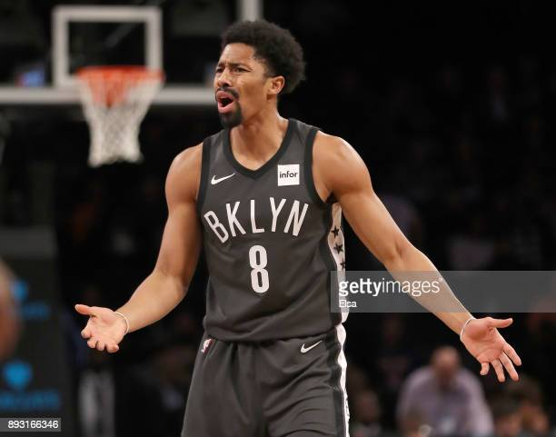 Spencer Dinwiddie of the Brooklyn Nets reacts after a call was not made against the New York Knicks at the Barclays Center on December 14 2017 in the...
