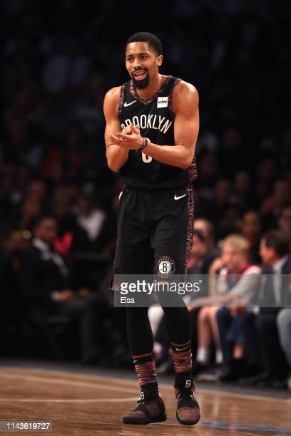 Spencer Dinwiddie of the Brooklyn Nets reacts after a play in the second quarter against the Philadelphia 76ers during game three of Round One of the...