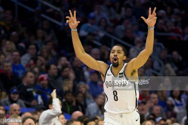 Spencer Dinwiddie of the Brooklyn Nets reacts after making a three point basket in the third quarter against the Philadelphia 76ers at the Wells...