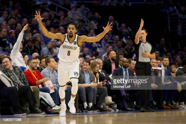 Spencer Dinwiddie of the Brooklyn Nets reacts after making a three point basket against the Philadelphia 76ers at the Wells Fargo Center on December...
