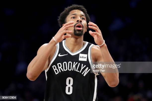 Spencer Dinwiddie of the Brooklyn Nets reacts after missing a shot to end the second quarter against the Miami Heat during their game at Barclays...