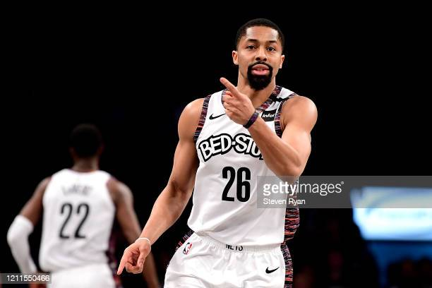 Spencer Dinwiddie of the Brooklyn Nets reacts against the Chicago Bulls in the second half at Barclays Center on March 08, 2020 in New York City....