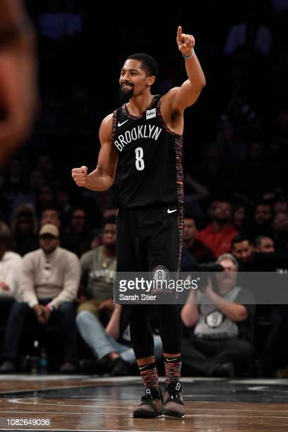 Spencer Dinwiddie of the Brooklyn Nets reacts during the fourth quarter of the game against the Washington Wizards at Barclays Center on December 14...