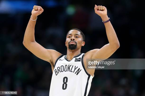 Spencer Dinwiddie of the Brooklyn Nets reacts during the second half of the game against the Boston Celtics at TD Garden on November 27 2019 in...