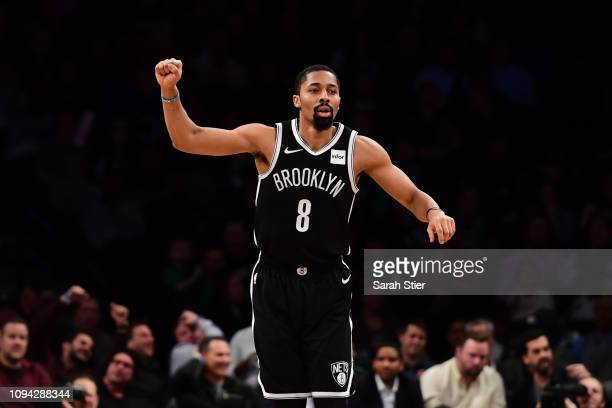 Spencer Dinwiddie of the Brooklyn Nets reacts during the third quarter of the game against the Boston Celtics at Barclays Center on January 14 2019...