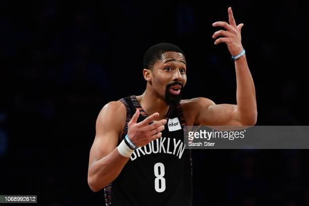 Spencer Dinwiddie of the Brooklyn Nets reacts in the fourth quarter during the game against LA Clippers at Barclays Center on November 17 2018 in New...