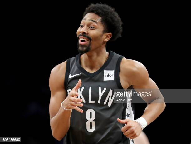 Spencer Dinwiddie of the Brooklyn Nets reacts in the third quarter against the Washington Wizards during their game at Barclays Center on December 22...