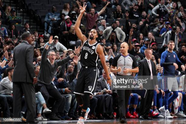 Spencer Dinwiddie of the Brooklyn Nets reacts to a play during the game against the Detroit Pistons on October 31 2018 at Barclays Center in Brooklyn...