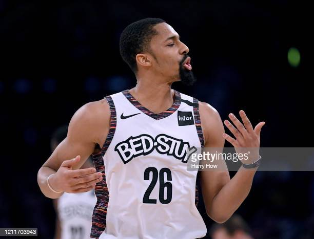Spencer Dinwiddie of the Brooklyn Nets reacts to his offensive foul during a 104102 win over the Los Angeles Lakers at Staples Center on March 10...