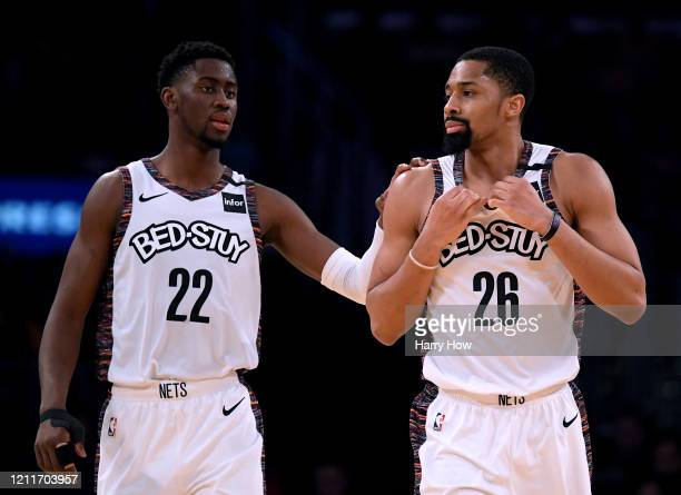 Spencer Dinwiddie of the Brooklyn Nets reacts to his offensive foul with Caris LeVert during a 104-102 win over the Los Angeles Lakers at Staples...