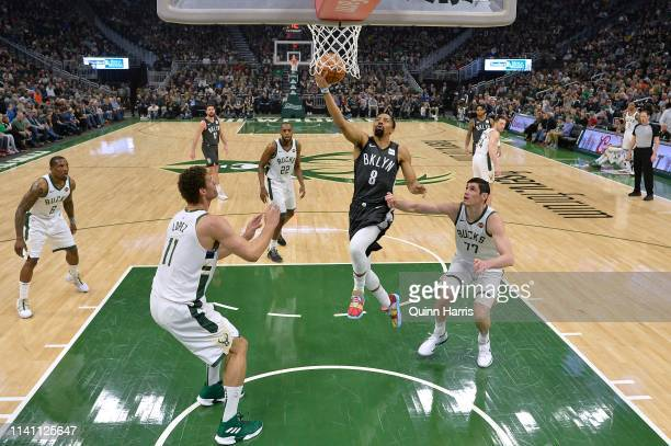 Spencer Dinwiddie of the Brooklyn Nets shoots a lay up in the first half against the Milwaukee Bucks at Fiserv Forum on April 06 2019 in Milwaukee...
