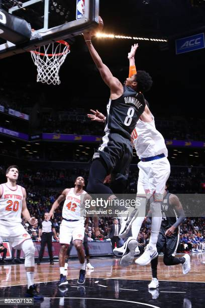 Spencer Dinwiddie of the Brooklyn Nets shoots a layup against the New York Knicks on December 14 2017 at Barclays Center in Brooklyn New York NOTE TO...