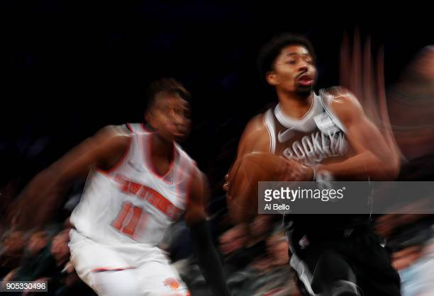 Spencer Dinwiddie of the Brooklyn Nets shoots against Frank Ntilikina of the New York Knicks during their game at the Barclays Center on January 15...