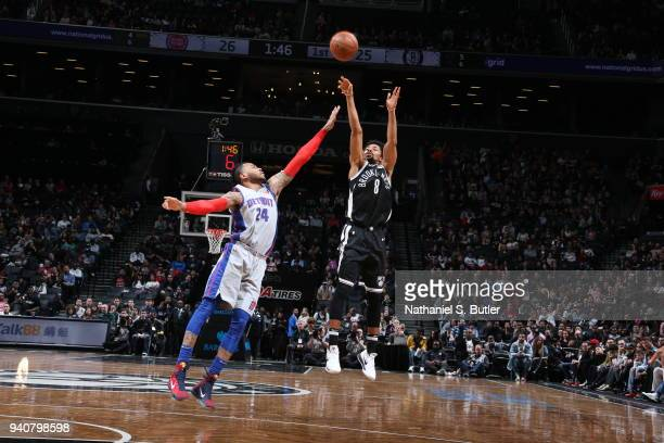 Spencer Dinwiddie of the Brooklyn Nets shoots the ball against Eric Moreland of the Detroit Pistons on April 1 2018 at Barclays Center in Brooklyn...