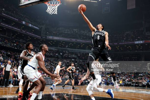 Spencer Dinwiddie of the Brooklyn Nets shoots the ball against the New York Knicks on October 19 2018 at Barclays Center in Brooklyn New York NOTE TO...