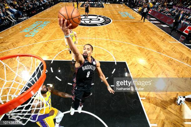 Spencer Dinwiddie of the Brooklyn Nets shoots the ball against the Los Angeles Lakers on December 18 2018 at Barclays Center in Brooklyn New York...