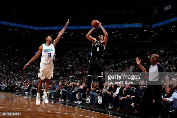 Spencer Dinwiddie of the Brooklyn Nets shoots the ball against the Charlotte Hornets on December 26 2018 at Barclays Center in Brooklyn New York NOTE...