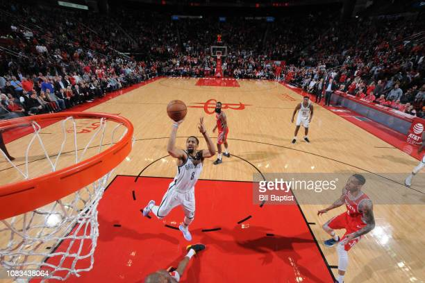 Spencer Dinwiddie of the Brooklyn Nets shoots the ball against the Houston Rockets on January 16 2019 at the Toyota Center in Houston Texas NOTE TO...