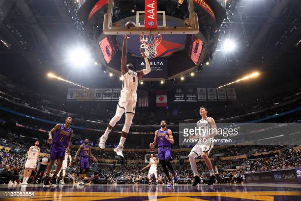 Spencer Dinwiddie of the Brooklyn Nets shoots the ball against the Los Angeles Lakers on March 22 2019 at STAPLES Center in Los Angeles California...