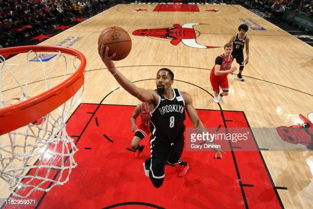 Spencer Dinwiddie of the Brooklyn Nets shoots the ball against the Chicago Bulls on November 16 2019 at the United Center in Chicago Illinois NOTE TO...