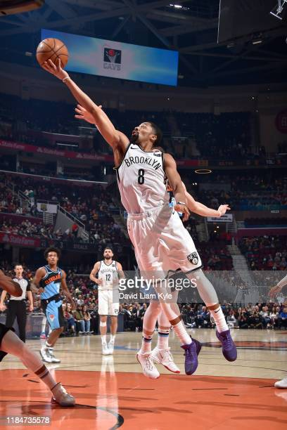 Spencer Dinwiddie of the Brooklyn Nets shoots the ball against the Cleveland Cavaliers on November 25 2019 at Quicken Loans Arena in Cleveland Ohio...