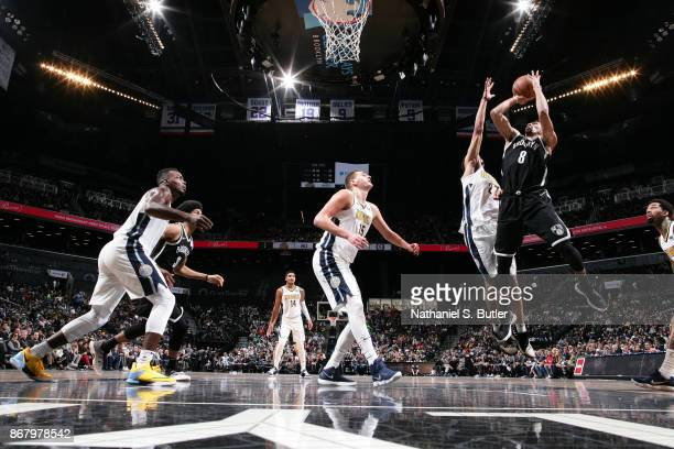 Spencer Dinwiddie of the Brooklyn Nets shoots the ball against the Denver Nuggets on October 29 2017 at Barclays Center in Brooklyn New York NOTE TO...