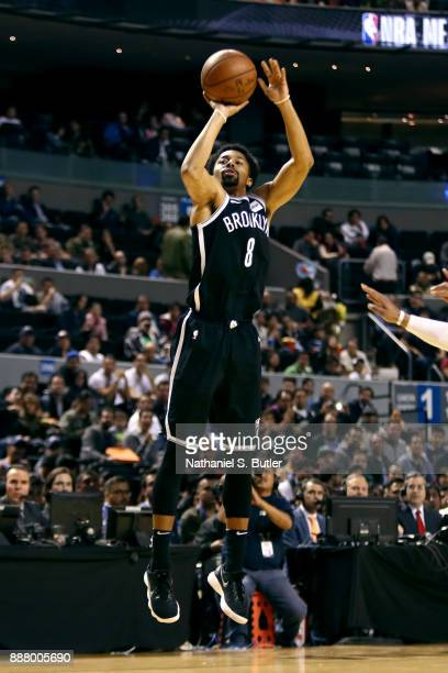 Spencer Dinwiddie of the Brooklyn Nets shoots the ball against the Oklahoma City Thunder as part of the NBA Mexico Games 2017 on December 7 2017 at...