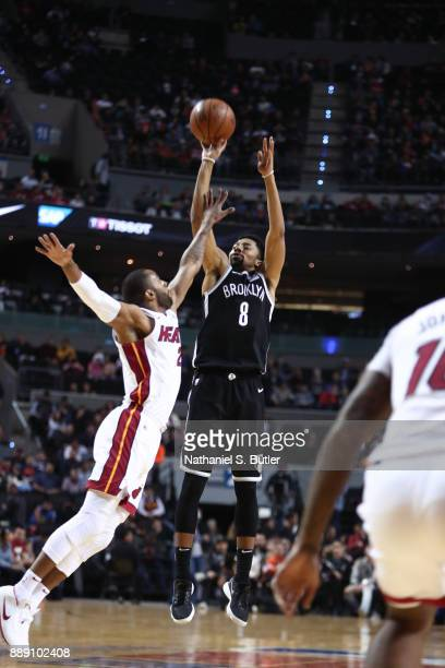 Spencer Dinwiddie of the Brooklyn Nets shoots the ball against the Miami Heat as part of the NBA Mexico Games 2017 on December 9 2017 at the Arena...