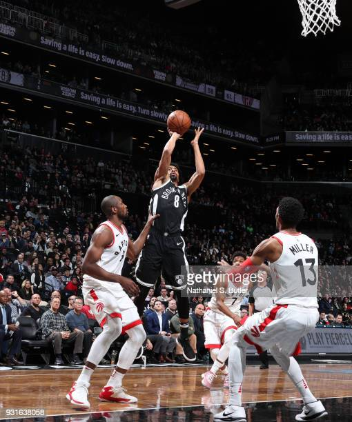 Spencer Dinwiddie of the Brooklyn Nets shoots the ball against the Toronto Raptors on March 13 2018 at Barclays Center in Brooklyn New York NOTE TO...