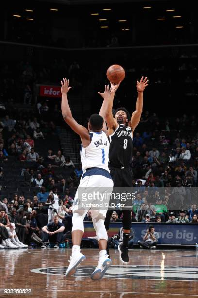 Spencer Dinwiddie of the Brooklyn Nets shoots the ball against the Dallas Mavericks on March 17 2018 at Barclays Center in Brooklyn New York NOTE TO...
