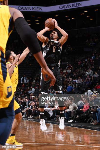 Spencer Dinwiddie of the Brooklyn Nets shoots the ball during the game against the Indiana Pacers on February 14 2018 at Barclays Center in Brooklyn...