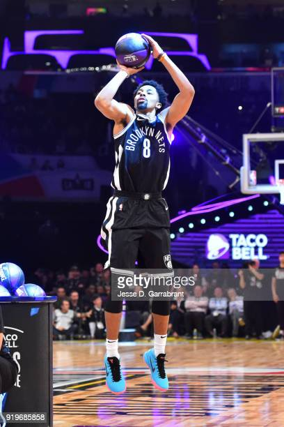 Spencer Dinwiddie of the Brooklyn Nets shoots the ball during the Taco Bell Skills Challenge during State Farm AllStar Saturday Night as part of the...