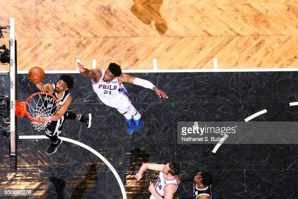 Spencer Dinwiddie of the Brooklyn Nets shoots the ball during the game against the Philadelphia 76ers on March 11 2018 at Barclays Center in Brooklyn...