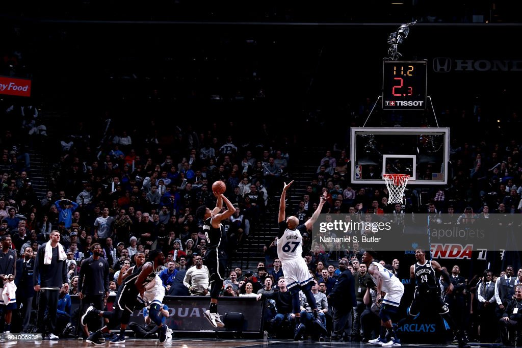 Spencer Dinwiddie #8 of the Brooklyn Nets shoots the ball to win the game against the Minnesota Timberwolves on January 3, 2018 at Barclays Center in Brooklyn, New York.