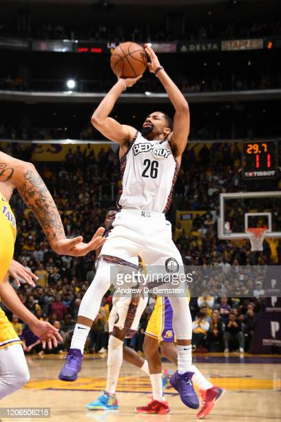Spencer Dinwiddie of the Brooklyn Nets shoots the gamewinning shot against the Los Angeles Lakers on March 10 2020 at STAPLES Center in Los Angeles...