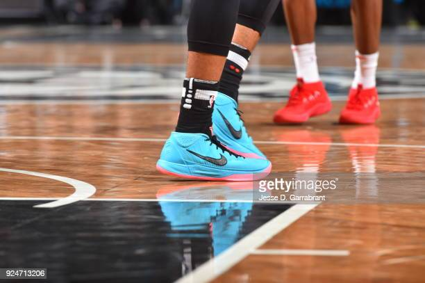 Spencer Dinwiddie of the Brooklyn Nets showcases his sneakers against the Chicago Bulls on February 262018 at Barclays Center in Brooklyn New York on...