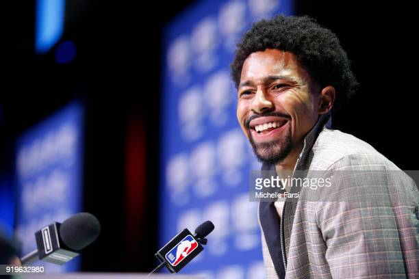 Spencer Dinwiddie of the Brooklyn Nets talks to the media during NBA AllStar Media Day as part of 2018 NBA AllStar Weekend at the Los Angeles...