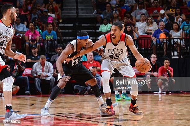 Spencer Dinwiddie of the Chicago Bulls handles the ball against the Minnesota Timberwolves during the 2016 NBA Las Vegas Summer League game on July...