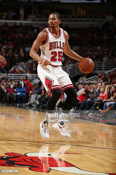 Spencer Dinwiddie of the Chicago Bulls handles the ball against the Indiana Pacers on October 8 2016 at the United Center in Chicago Illinois NOTE TO...