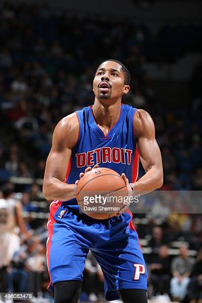 Spencer Dinwiddie of the Detroit Pistons shoots a free throw against the Minnesota Timberwolves on November 20 2015 at Target Center in Minneapolis...