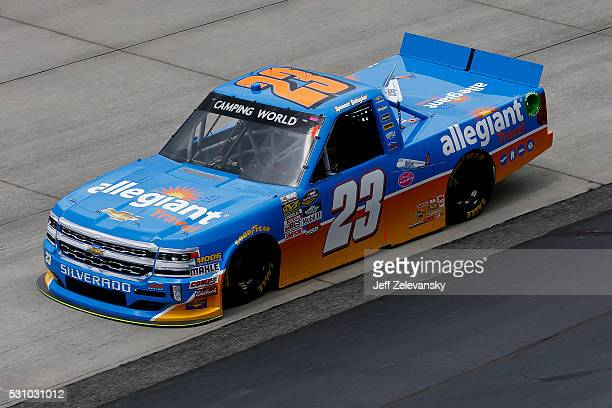 Spencer Gallagher driver of the Allegiant Travel Chevrolet practices for the NASCAR Camping World Truck Series at Dover International Speedway on May...